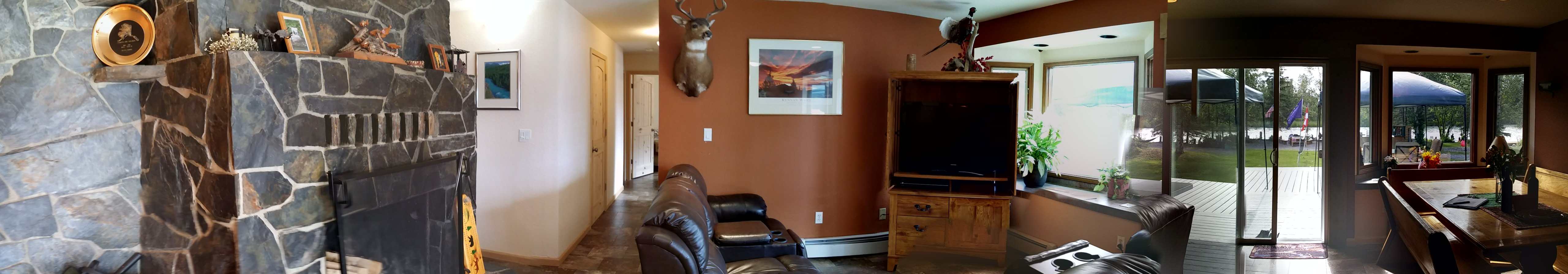 Living room panorama with Kenai River view.